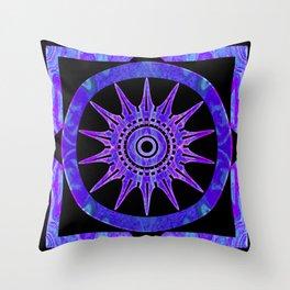 Starlit Purple Nights Abstract Mandala Artwork Throw Pillow