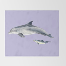 Bottlenose dolphin purple background Throw Blanket