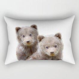 Twin baby bear art, kid bears art, lover nursery art, Woodland animals, gift for baby twin Rectangular Pillow