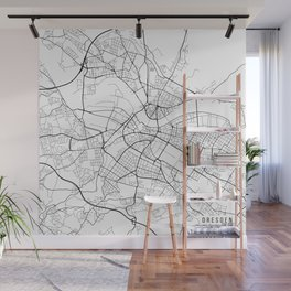 Dresden Map, Germany - Black and White Wall Mural