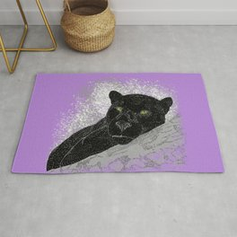 Black panther on a branch - Purple Rug