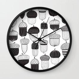 Doodle acorns autumn pattern Wall Clock