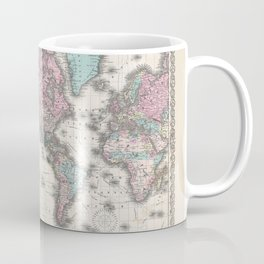 1855 Colton Map of the World on Mercator Projection Coffee Mug