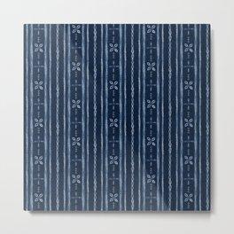 Indigo shibori floral stripes Metal Print