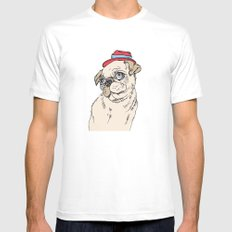 Pug White Mens Fitted Tee MEDIUM