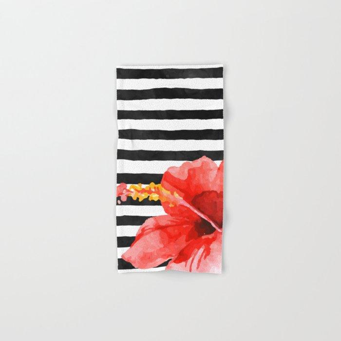 Tropical flower on stripes Hand & Bath Towel