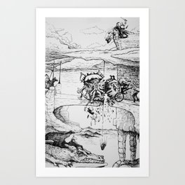 Knight, King, and a Dragon Castle in the Clouds Pen and Ink drawing Art Print