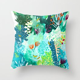 Twice Last Wednesday: Abstract Jungle Botanical Painting Throw Pillow