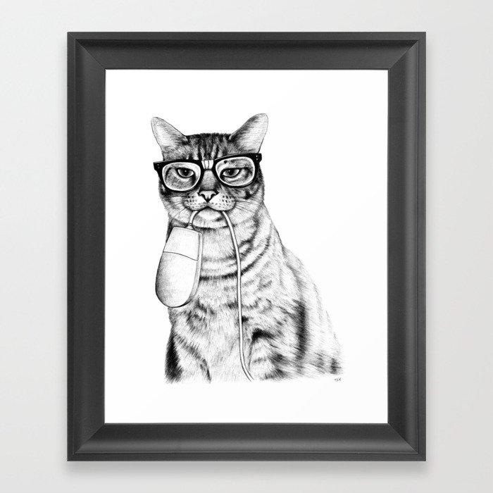 Mac Cat Framed Art Print by florever | Society6