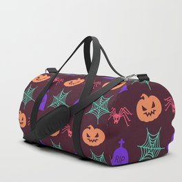 Happy halloween pumkins,web,spiders and graves pattern Duffle Bag