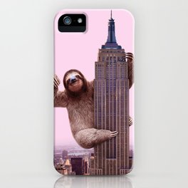 Sloth on  Empire  State Building iPhone Case
