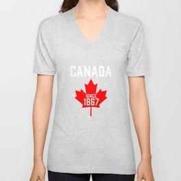 Canada Since July 1867 Canadian Pride Maple Leaf Unisex V-Neck
