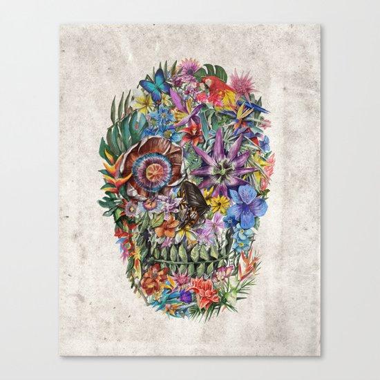 tropilcal floral skull 5 Canvas Print