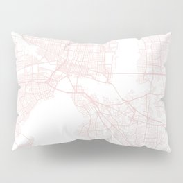 Jacksonville Florida Light Pink Minimal Street Map Pillow Sham