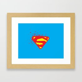 Square Heroes - man of steel Framed Art Print