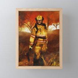 FIRST RESPONDER - Firefighter, Bushfires, Emergency Services Framed Mini Art Print
