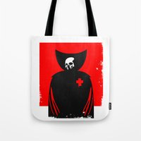 death Tote Bags featuring death by dann matthews