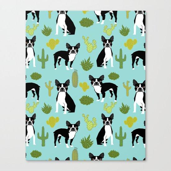 Boston Terrier cactus desert southwest baby mint dog art boston terrier owners pet portraits furbey  Canvas Print