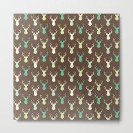 Brown ivory pastel green vector deer animal pattern Metal Print