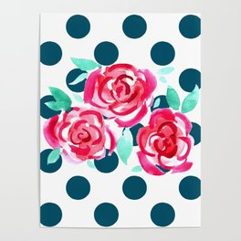 Tea Party -  Pink Roses on Teal Polka Dots Poster