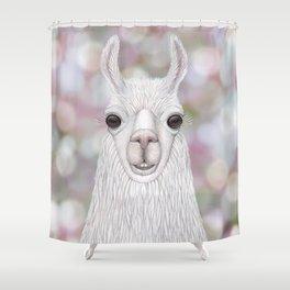 Llama farm animal portrait Shower Curtain