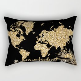 world map gold black Rectangular Pillow