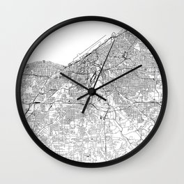 Cleveland White Map Wall Clock