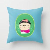 frida kahlo Throw Pillows featuring frida kahlo by WreckThisGirl