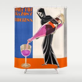 Vintage 1930 Drinking Absinthe Causes Death Alcoholic Beverage Advertising Poster Shower Curtain