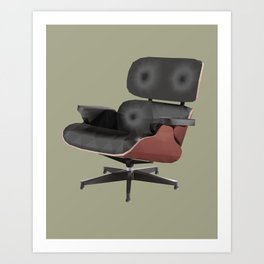 Eames Lounge Chair Polygon Art Art Print
