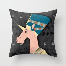 Queen Nefertiti Unicorn Throw Pillow