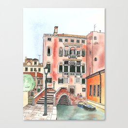 Venice Watercolor and ink illustration Canvas Print