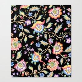 floral pattern black Canvas Print