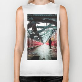 New York City Williamsburg Bridge in the Rain Biker Tank