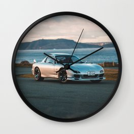 Silver rx7 parked during sunset Wall Clock