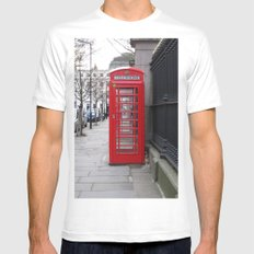 London Phone Booth MEDIUM White Mens Fitted Tee