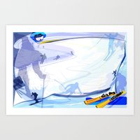 skiing Art Prints featuring Downhill Skiing by Robin Curtiss
