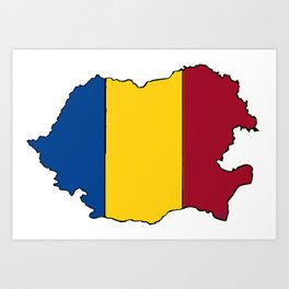 Romania Map with Romanian Flag Art Print
