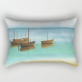 Seascape Boats Painting Impressionism Blue Ocean Artwork Rectangular Pillow