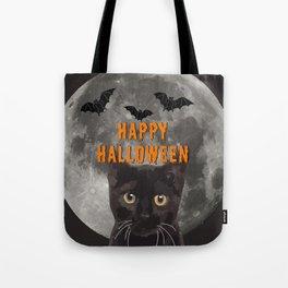 moon Black Cat Head and Bats - Happy Halloween Tote Bag
