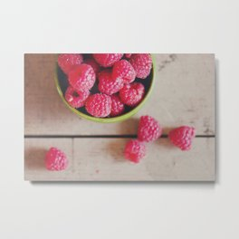 there's something about the red of a raspberry ... Metal Print