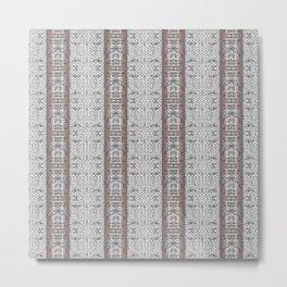 Vintage Grey White Mosaic Striped Pattern Metal Print