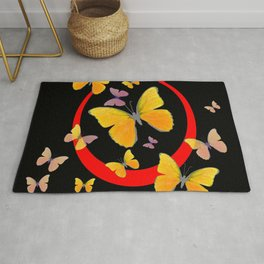 YELLOW BUTTERFLIES & RED RING  ABSTRACT ART Rug