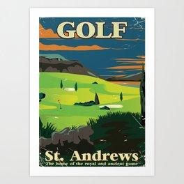 Golf St. Andrews vintage commercial poster print. Art Print