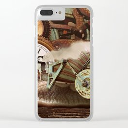 Steampunk clock background Clear iPhone Case
