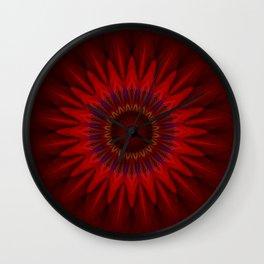 Mandala red power Wall Clock