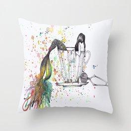 Mermaid Tea Throw Pillow