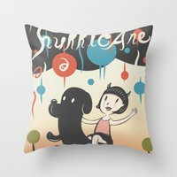 cartoons Throw Pillows featuring Hurricane! by Miggy Borja
