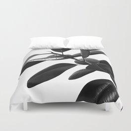 Ficus Elastica Black & White Vibes #1 #foliage #decor #art #society6 Duvet Cover