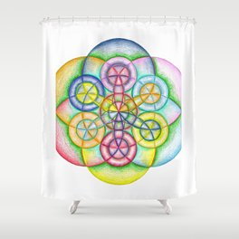 Fundamental Patterns of the Universe - The Rainbow Tribe Collection Shower Curtain